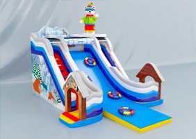 Inflatable winter slides, winter trampolines with slides
