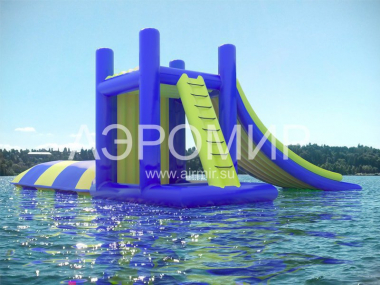 Inflatable tower with slide and blob