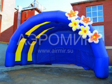 """Arched-1"" blue with flowers"