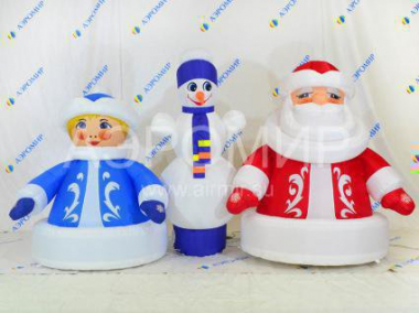 "Set of three figures ""Economy"" with a snowman Santa Claus and Snow Maiden"