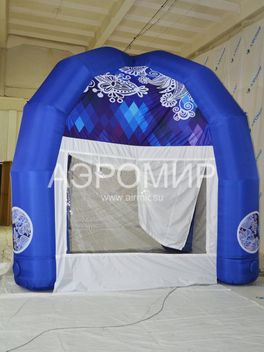 Inflatable tent blue on four pillars