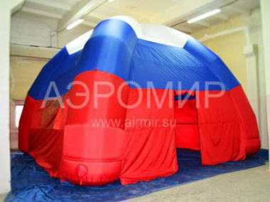 Inflatable tent on four supports