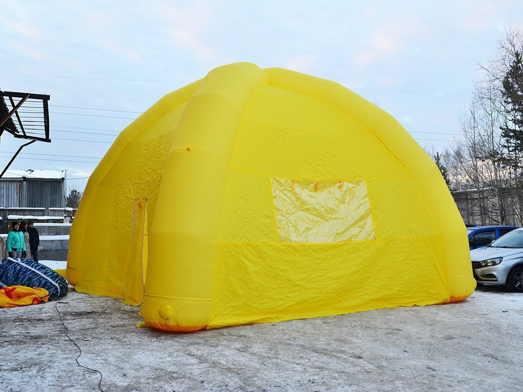 Big yellow inflatable tent