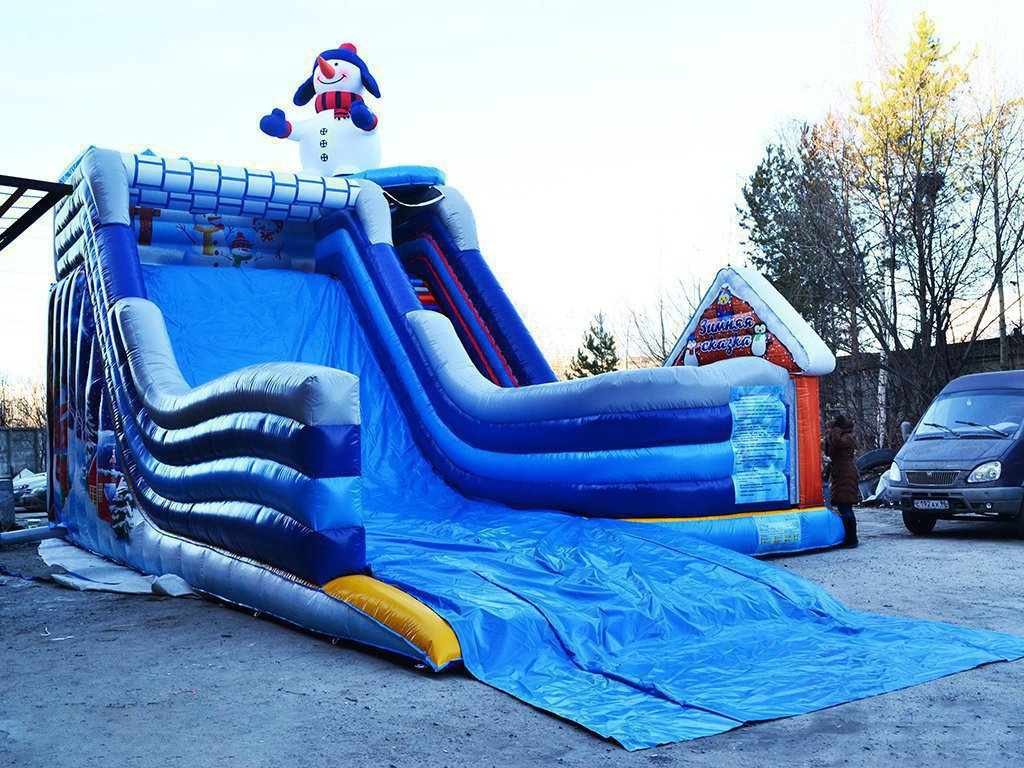 Great winter slide-trampoline in the city of Kirov