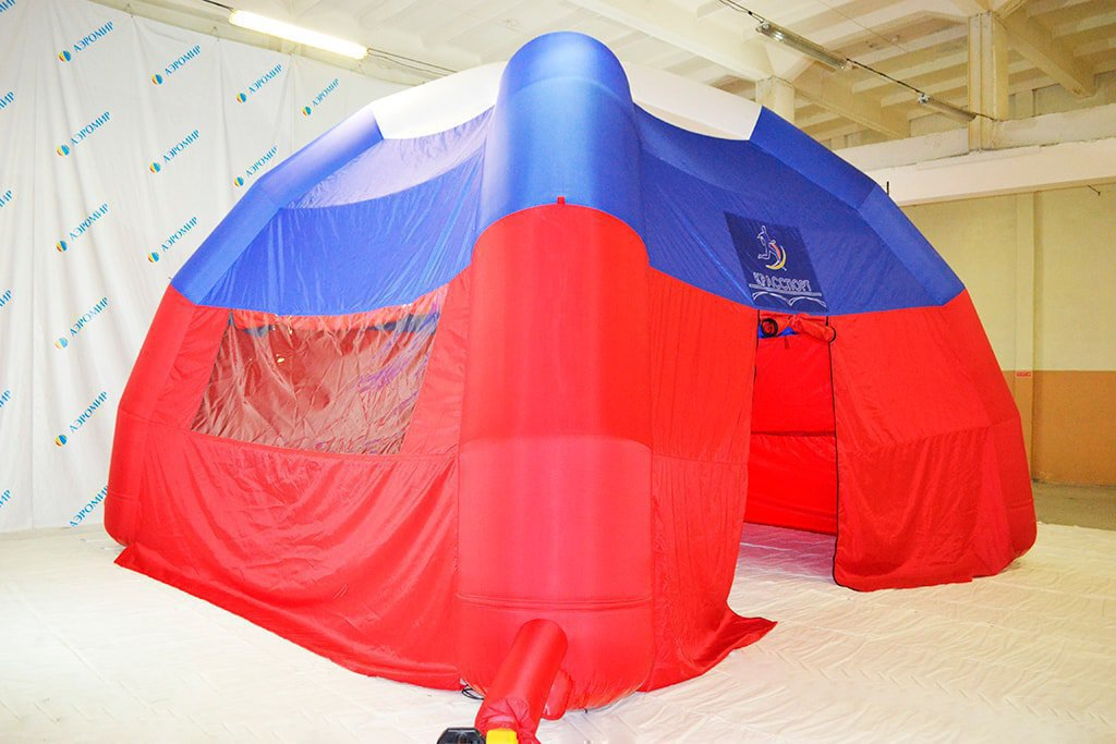 "Branded inflatable tricolor tent ""Sport"" for the city of Krasnoyarsk."