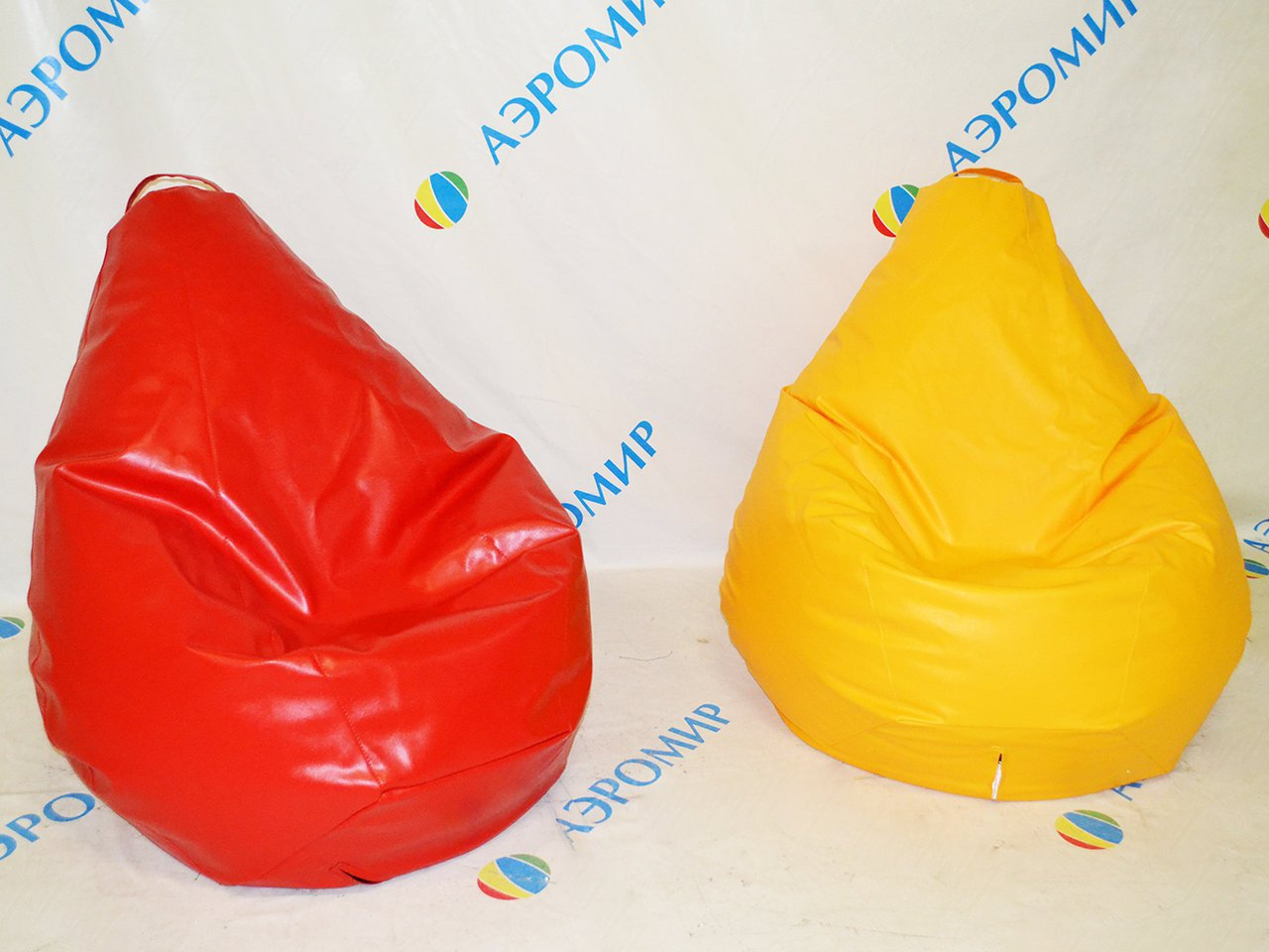 2 bag chairs yellow and red