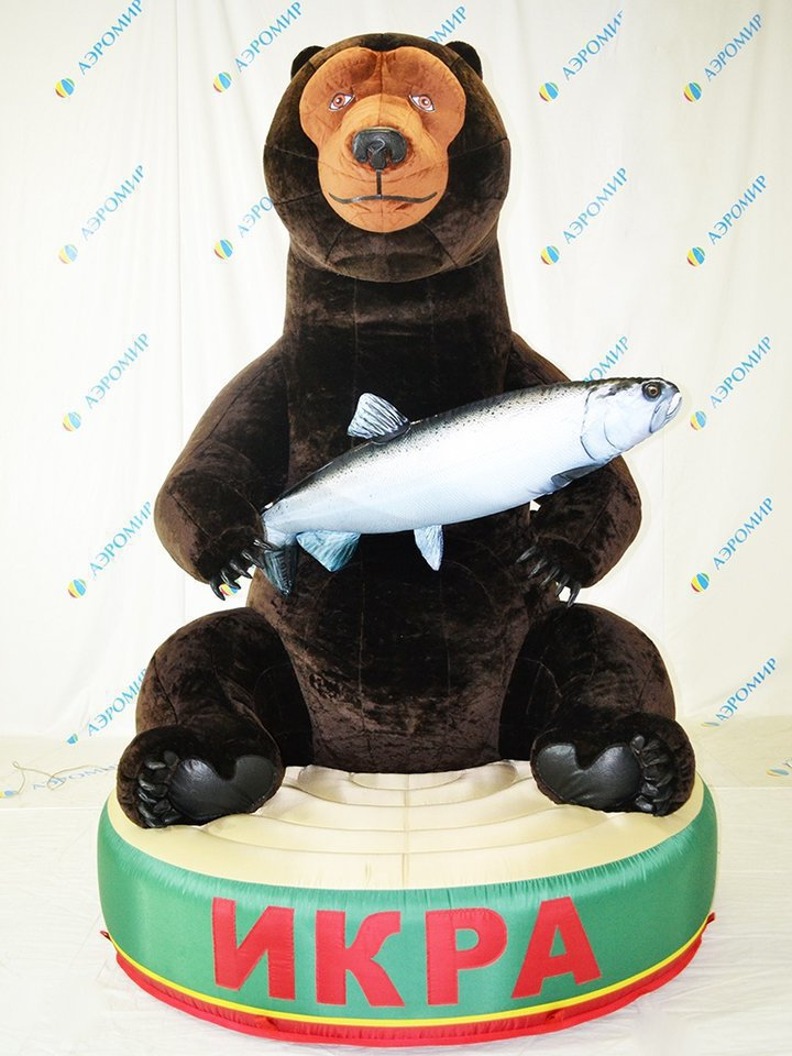 Inflatable figure Bear with the cabin