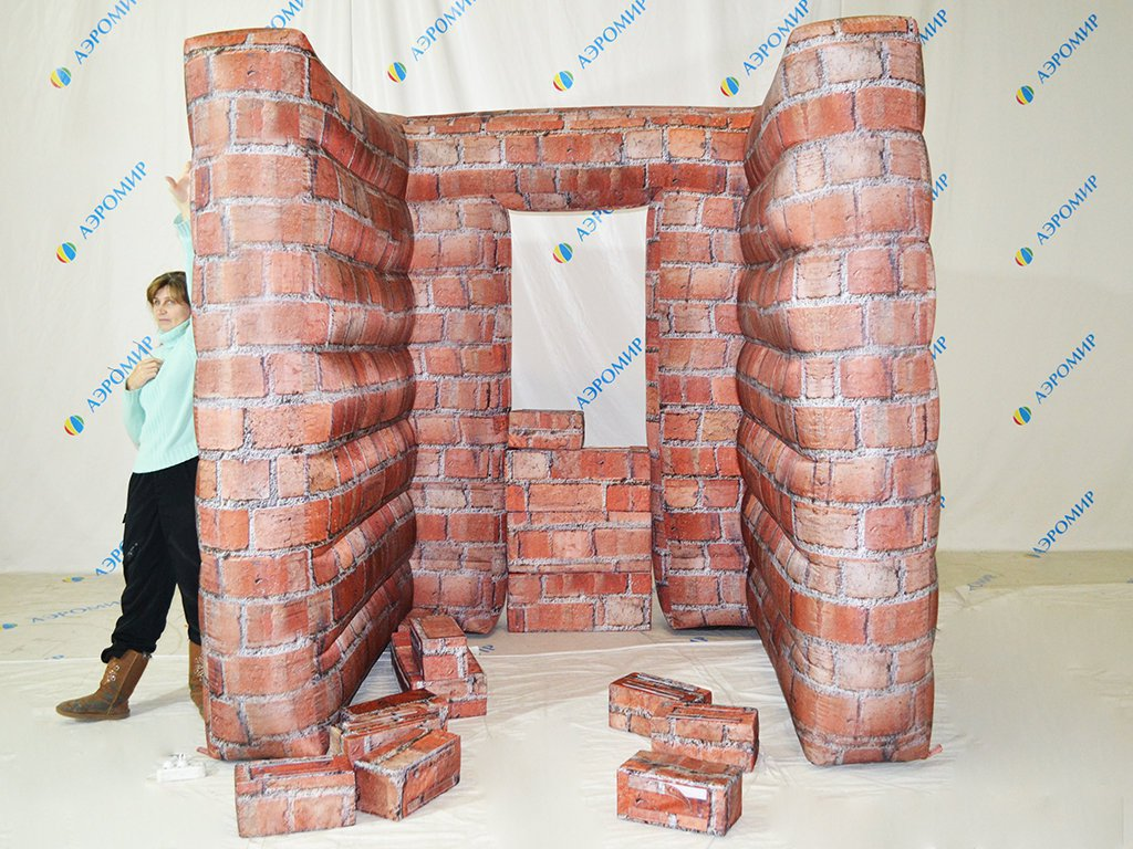 Inflatable brick wall for a touring children's theater, Moscow.