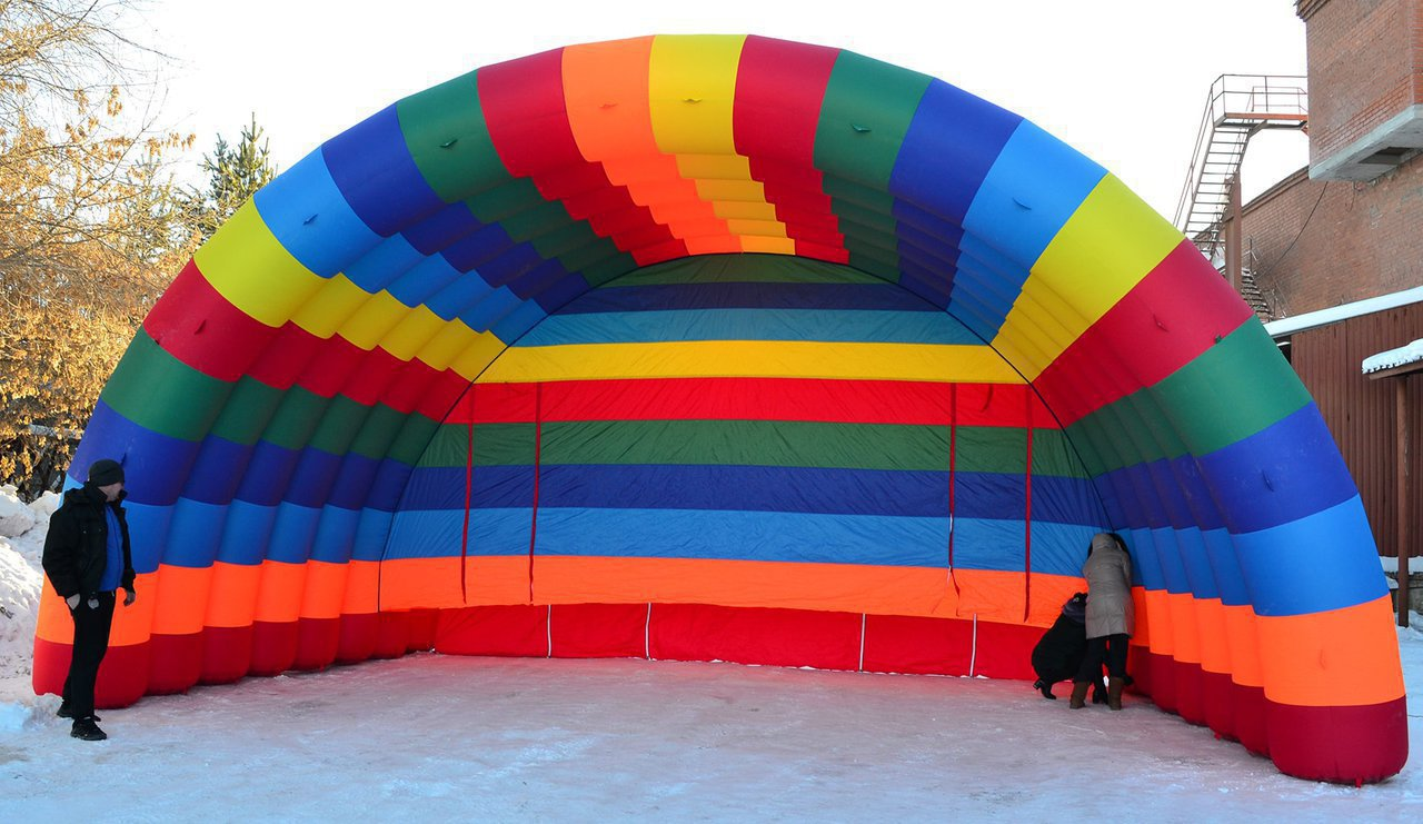 "Inflatable scene ""Arched-2"" in the colors of the rainbow."
