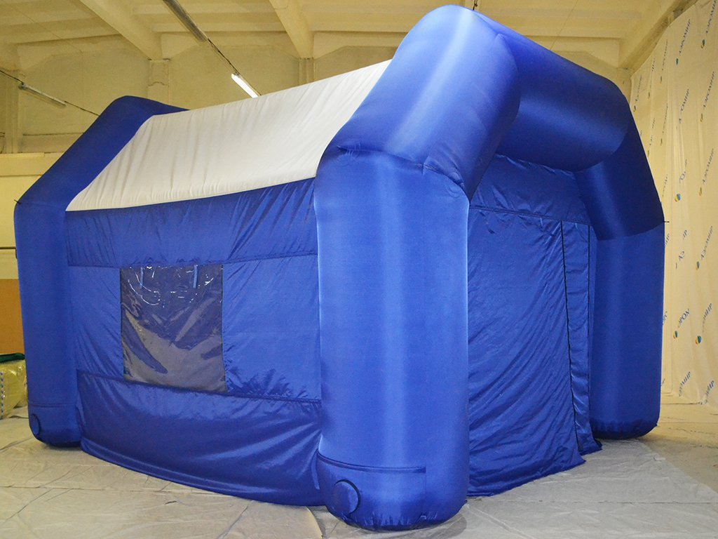 Inflatable hangar VS-1 with a white roof in the city of Kirov (medium size to order)