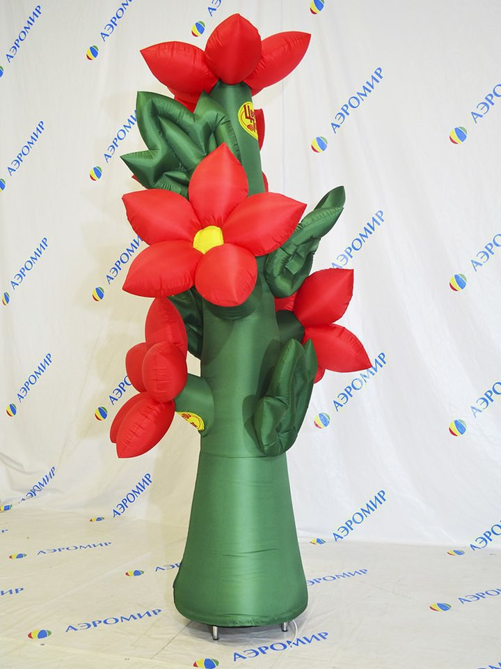 Inflatable flower on the branch for advertising