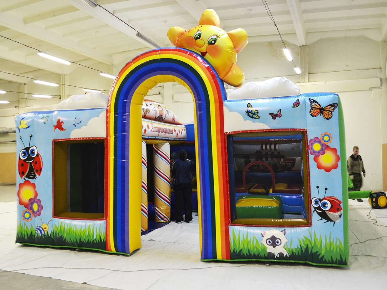 Children's inflatable play center of several rooms