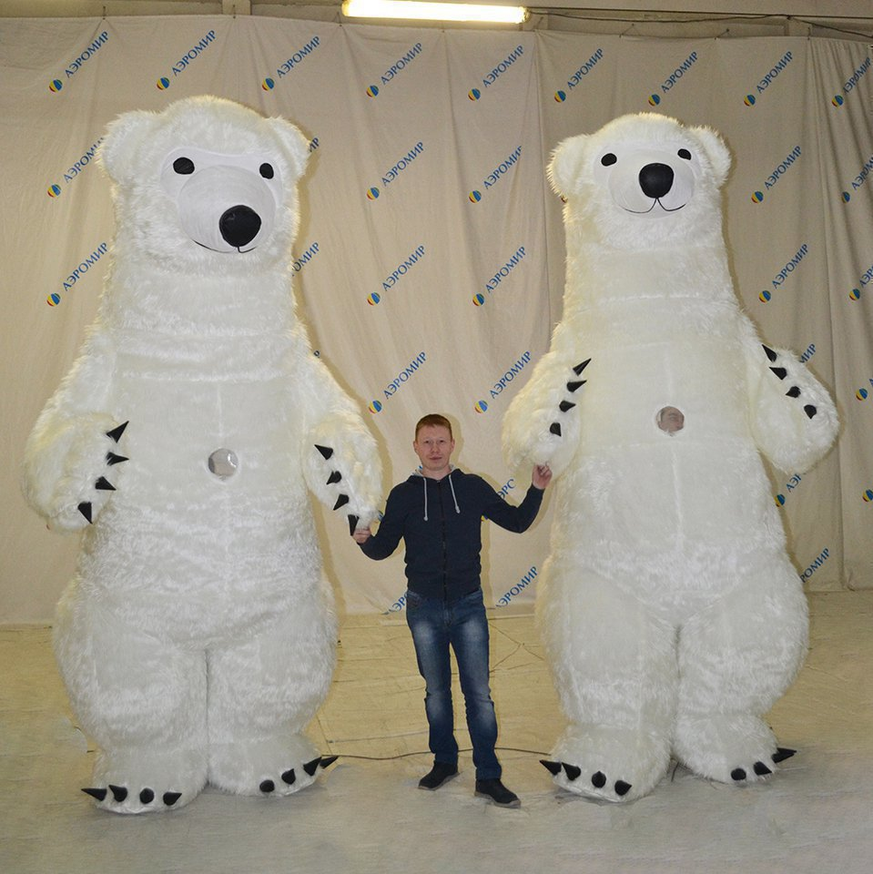 Two white bear pneumosuits with fur
