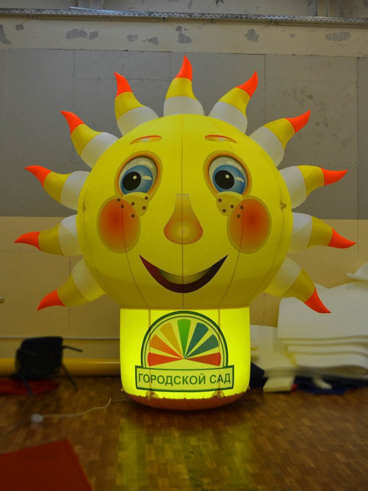 "Beautiful inflatable figure ""Balloon Sun"" for JSC ""City Garden"" in Tomsk"