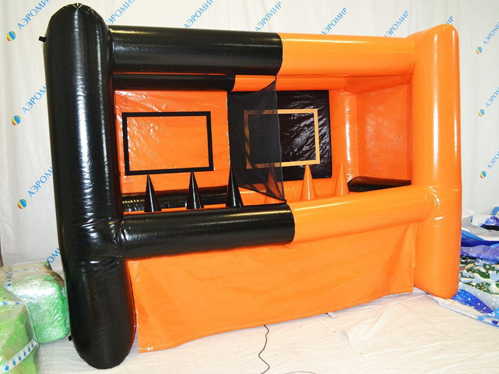 Orange-black inflatable shooting gallery for two participants