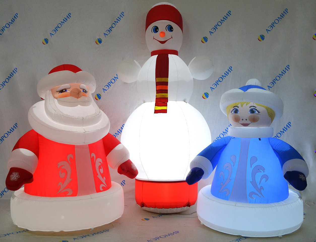 Set of 3 inflatable Christmas figures (economy version): Father Frost, Snowman and Snow Maiden