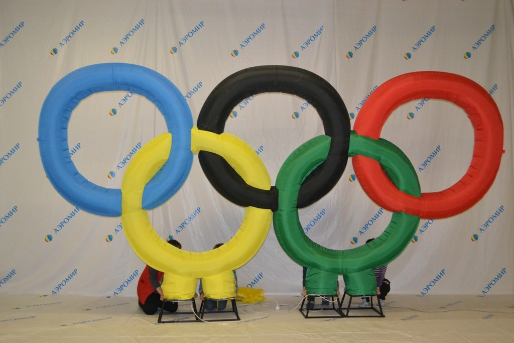 Colorful inflatable olympic rings for Art-Life LLC, Moscow