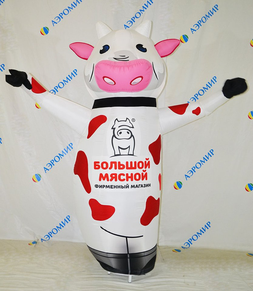 "The figure of the Cow waving his hand for the store ""Big meat"""